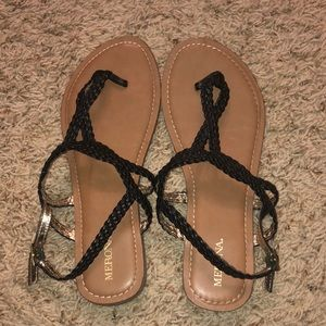 Black braided target sandals
